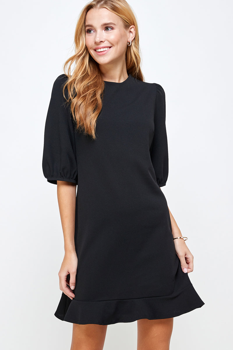 Women's Solid Black Puff Sleeve Dress