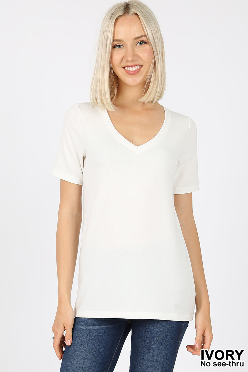 Women's Basic Solid V Neck Top