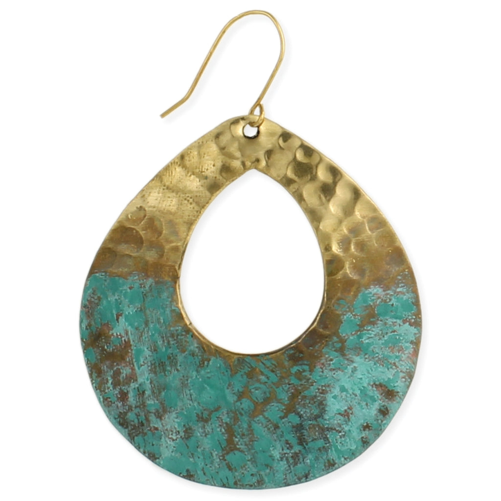 Hammered Patina Teardrop Earrings