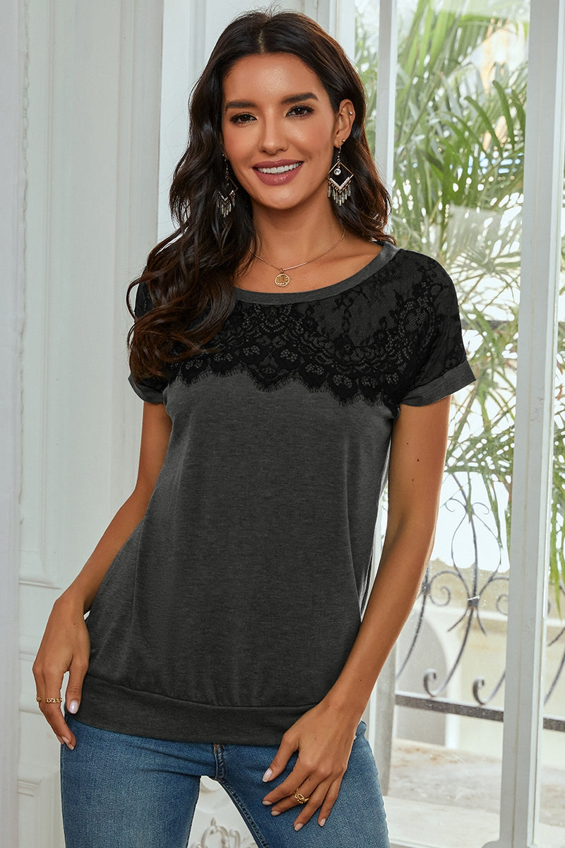 Women's Solid Lace Round Neck Loose Top