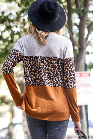 Women's Long Sleeve Leopard Color Block Top