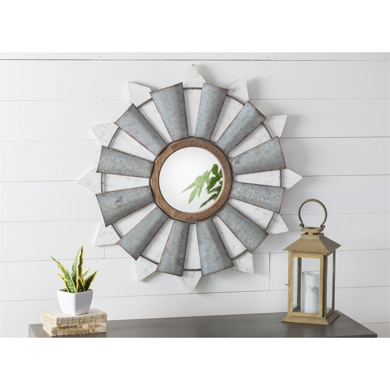 Home Decor - Windmill Wall Mirror with Metal and Wood Frame