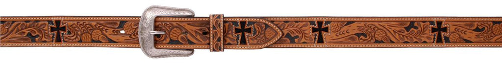 Mens Western Leather Tooled Belt - Keffeler Kreations | HilltopBoutique.com