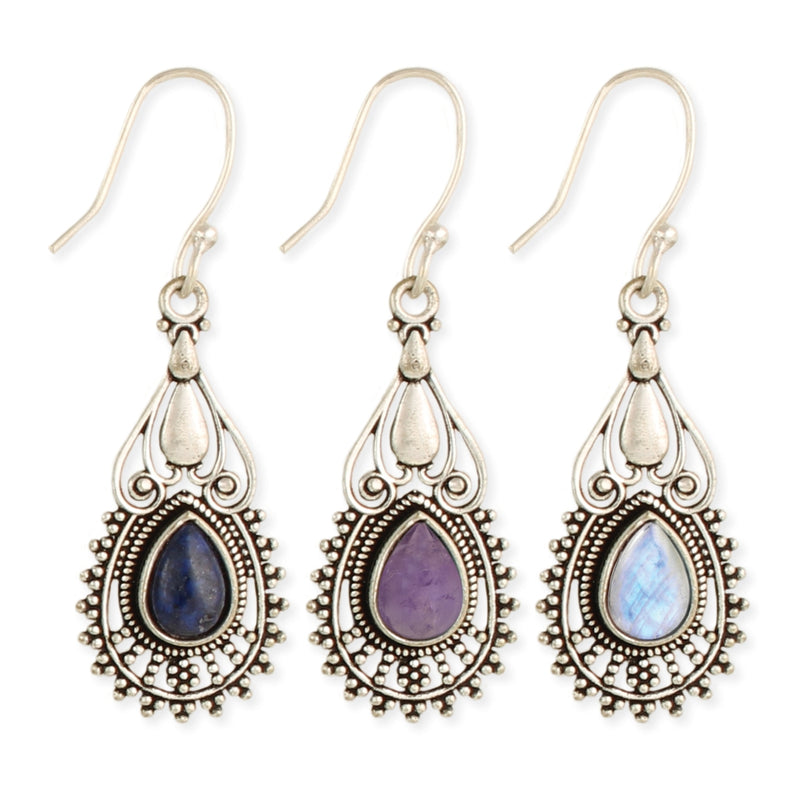 Silver Stone Teardrop Earrings