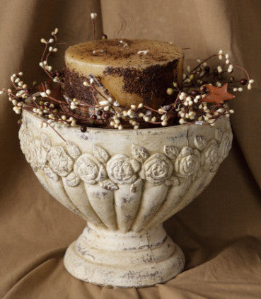 Cream Rose Pedestal Planter