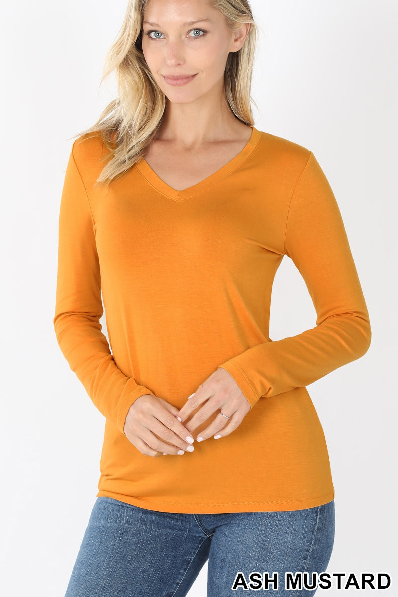 Women's Premium Rayon Long Sleeve V-Neck Tee