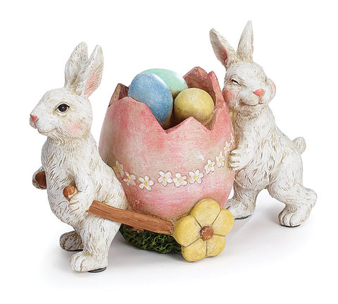 Resin Bunnies w/ Cart Figurine