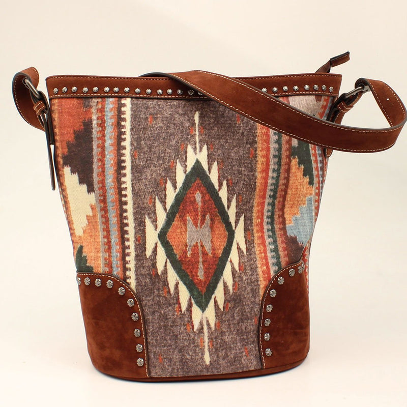 Blazin Roxx Brown & Aztec Concealed Carry Tote Purse