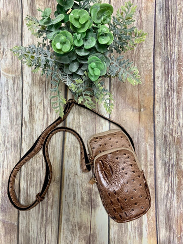 Faux Brown Gator Crossbody Purse
