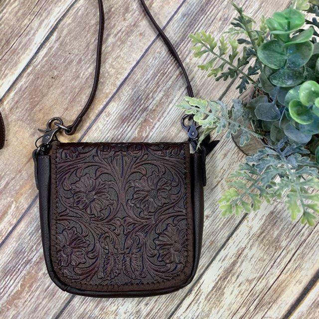 Montana West Brown Tooled Crossbody Purse