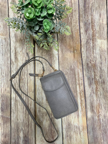 Gray Wallet Style Crossbody Purse