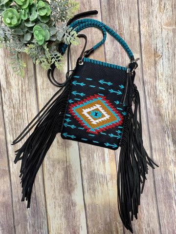 Montana West Black Southwest Crossbody Purse
