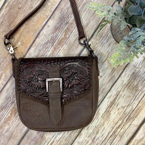 Montana West Brown Tooled Buckle Crossbody Purse