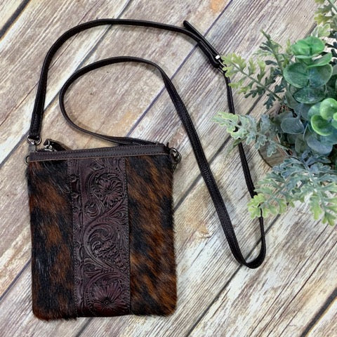 Montana West Brindle Hide Tooled Crossbody Purse