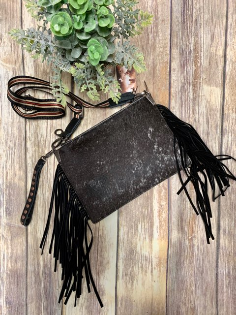 Montana West Fringe Hide Wristlet Crossbody Purse