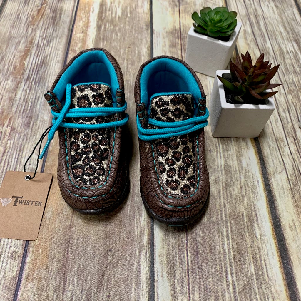 Girl's/Toddler Twister Sparkle Leopard Moccasin Shoes - Leslie