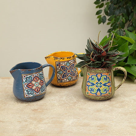 Lisbon Tile Ceramic Pitcher Vase