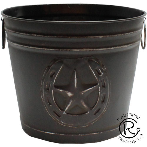 Black Horseshoe/Cross Metal Bucket Vase
