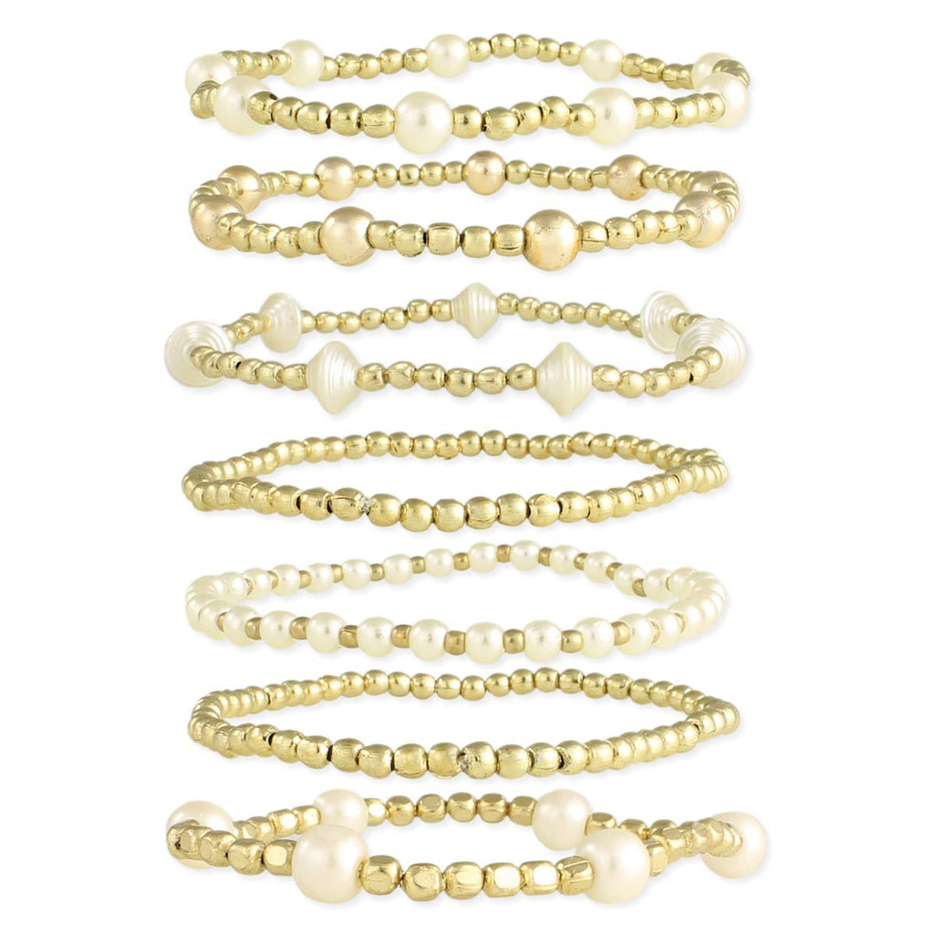 Gold & White Bead Bracelet Set of 7