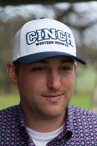Cinch Men's White/Navy FlexFit Cap