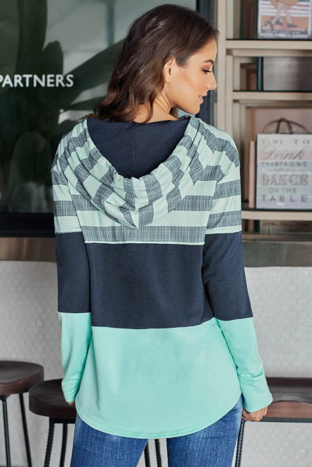 Women's Teal Color Block Hoodie