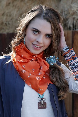 Women's Orange Western Print Wild Rag
