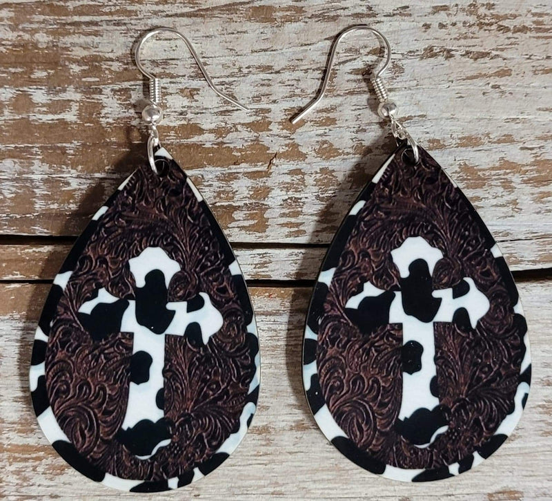 Cowhide Cross Earrings