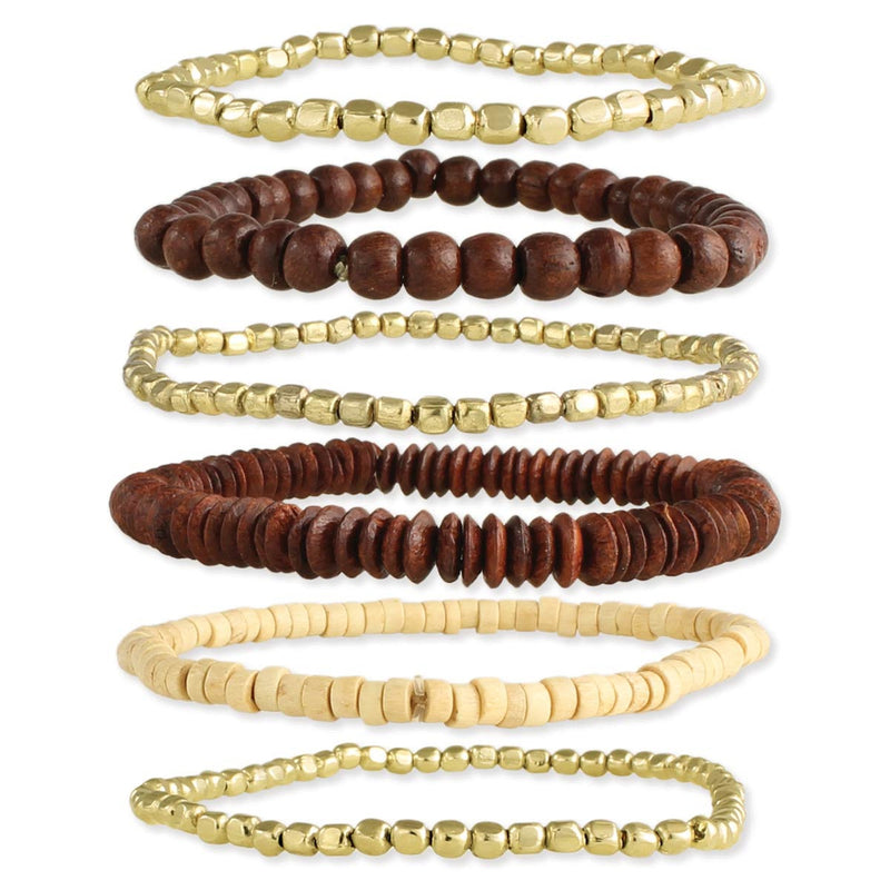 Wood & Gold Stretch Bracelet Set