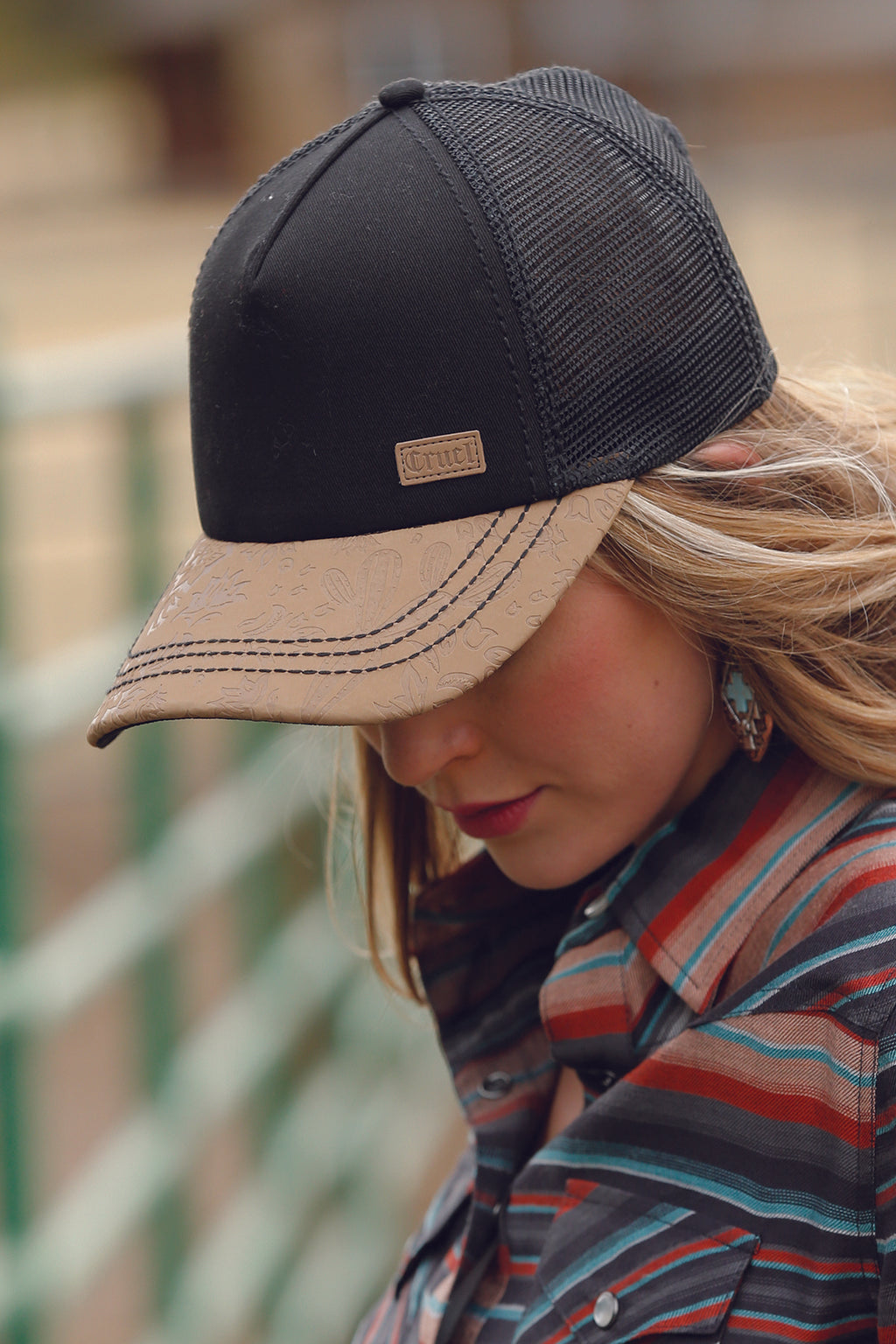 Women's Cruel Girl Black and Tan Trucker Cap