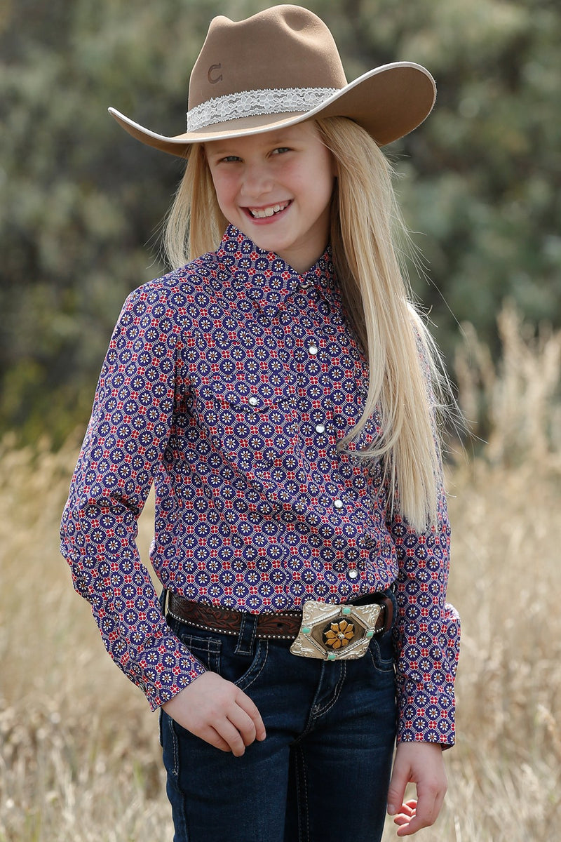 Girl's Cruel Girl Purple and Pink Floral Print Snap Western Shirt