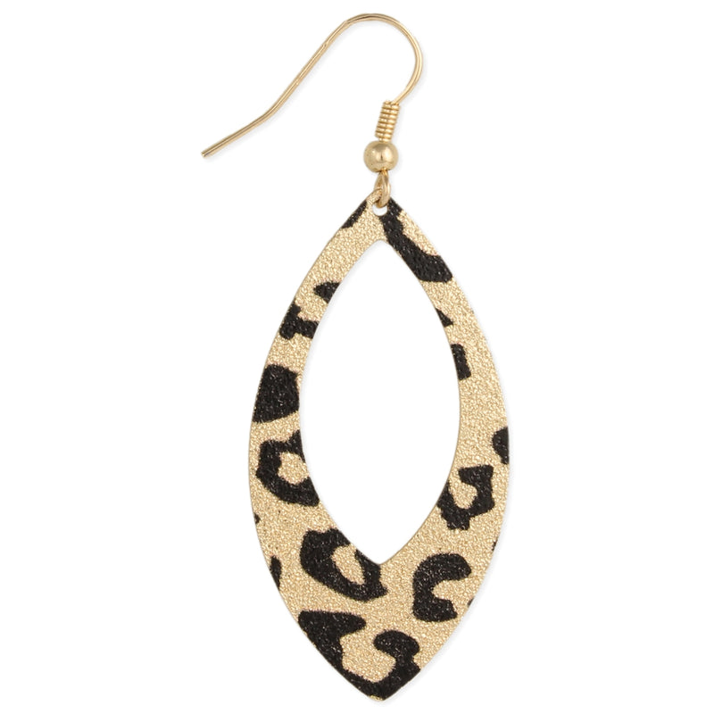 Leopard Print Pointed Oval Earrings