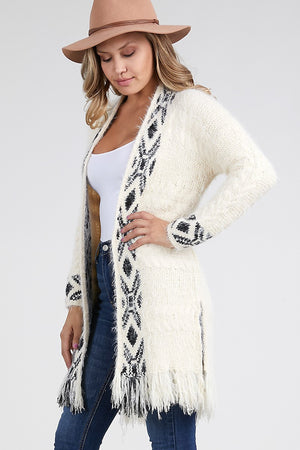 Women's Tribal Fringe Cardigan Sweater