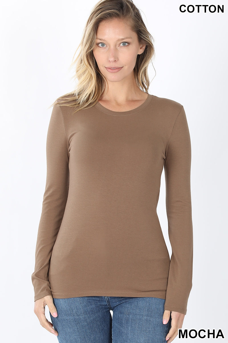 Women's Cotton Long Sleeve Round Neck Top