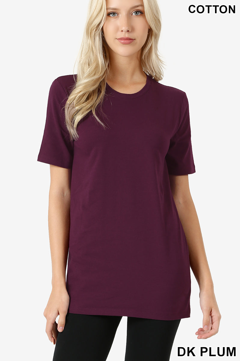 Women's Short Sleeve Solid Round Tee Shirt