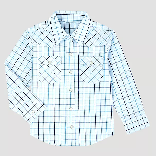 Boy's Wrangler Infant White Plaid Snap Western Shirt