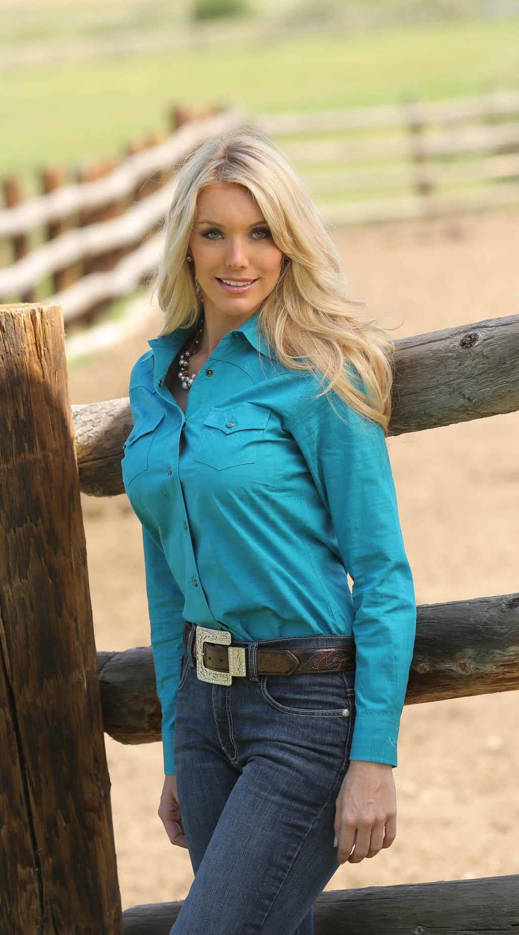 Women's  Teal Pinpoint Long Sleeve Pearl Snap Western Shirt