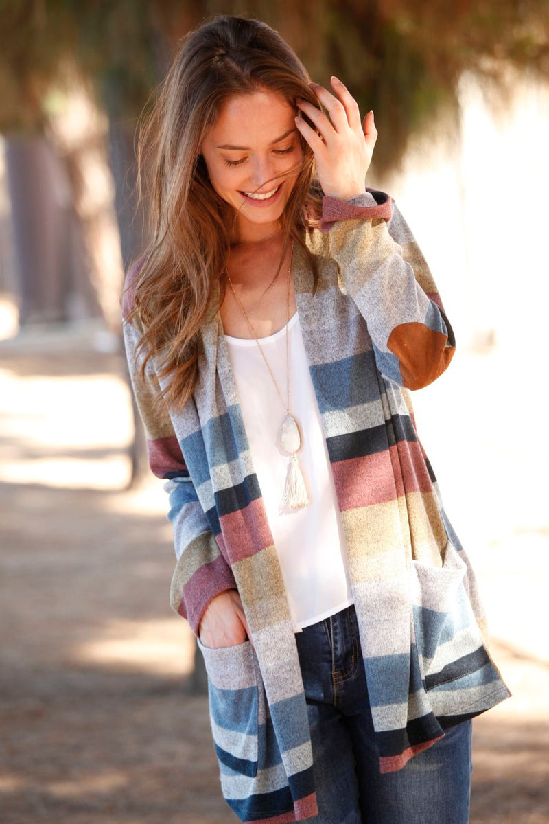 Women's Stripe Elbow Patch Open Cardigan