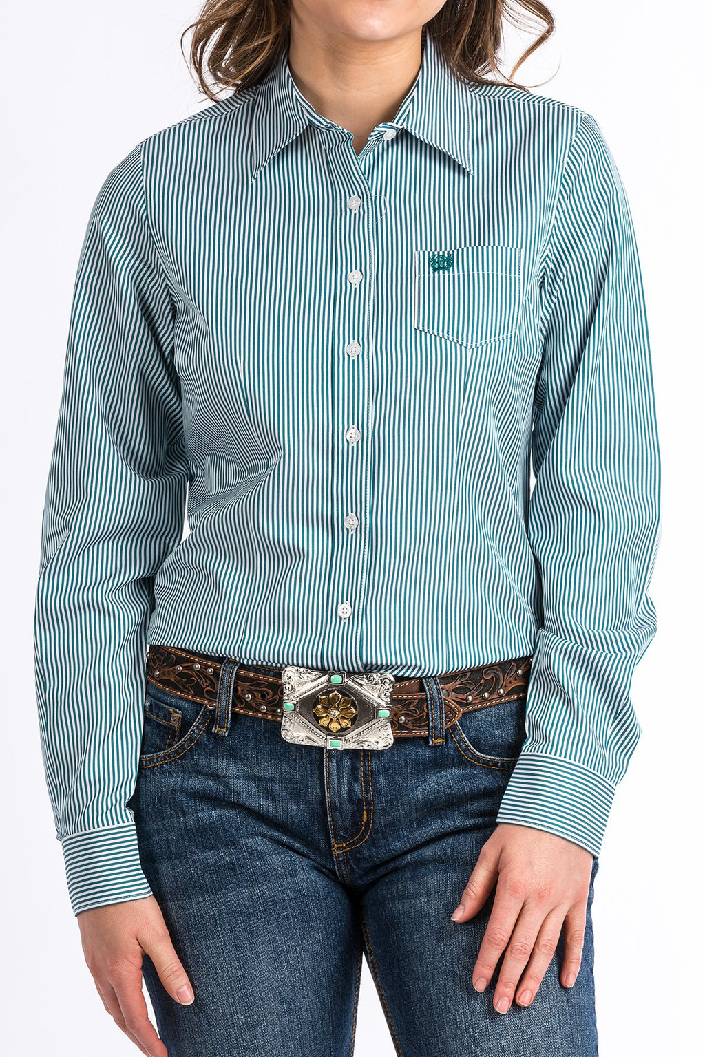 Women's Cinch Teal Stripe Western Shirt