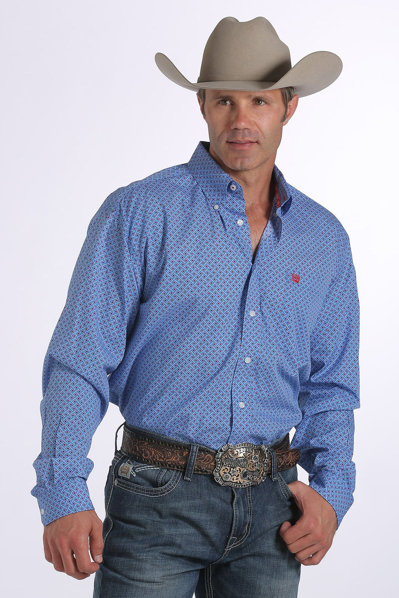 Cinch Men's Royal Blue Diamond Print Long Sleeve Shirt - Keffeler Kreations | HilltopBoutique.com
