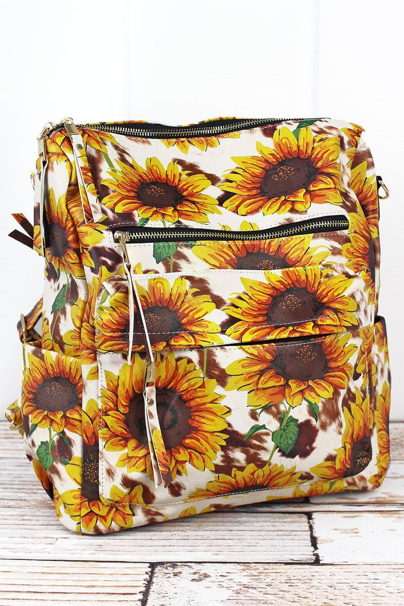 Sunflower Farm Faux Leather Backpack Tote