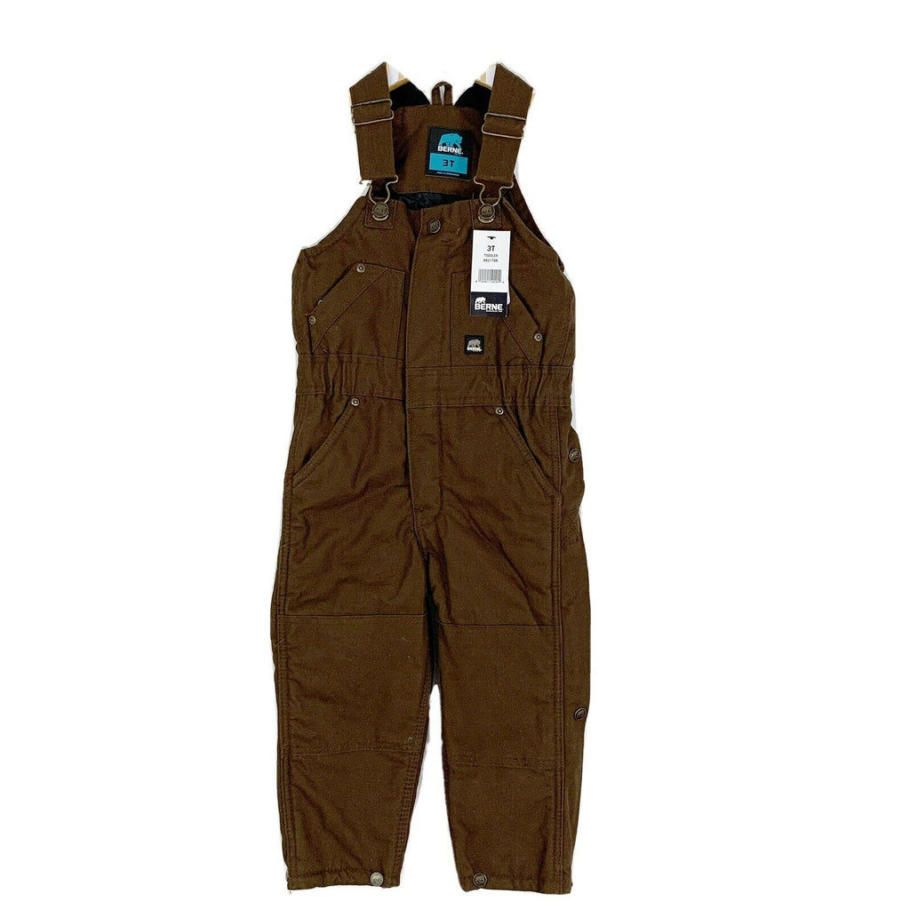 Berne Toddler Washed Insulated Bib Overall - Bark Brown