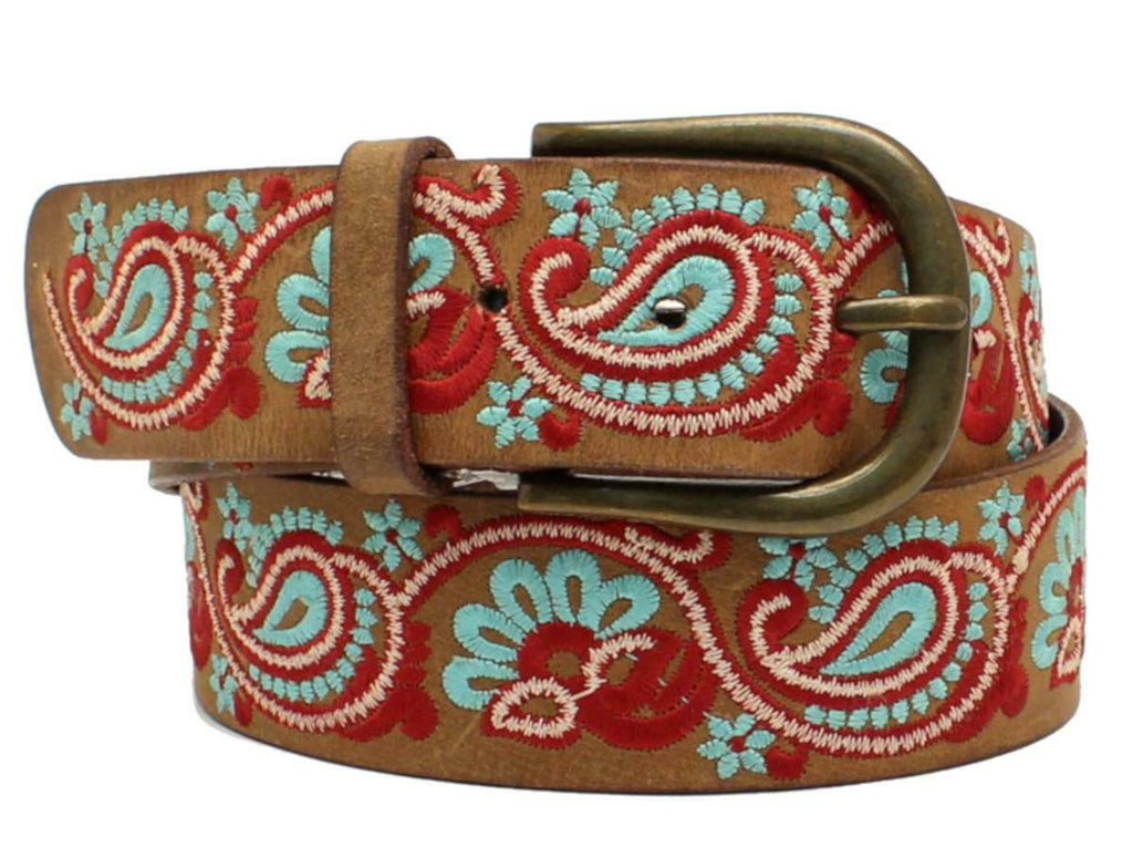 Women's Nocona Brown Embroidery Paisley Western Leather Belt