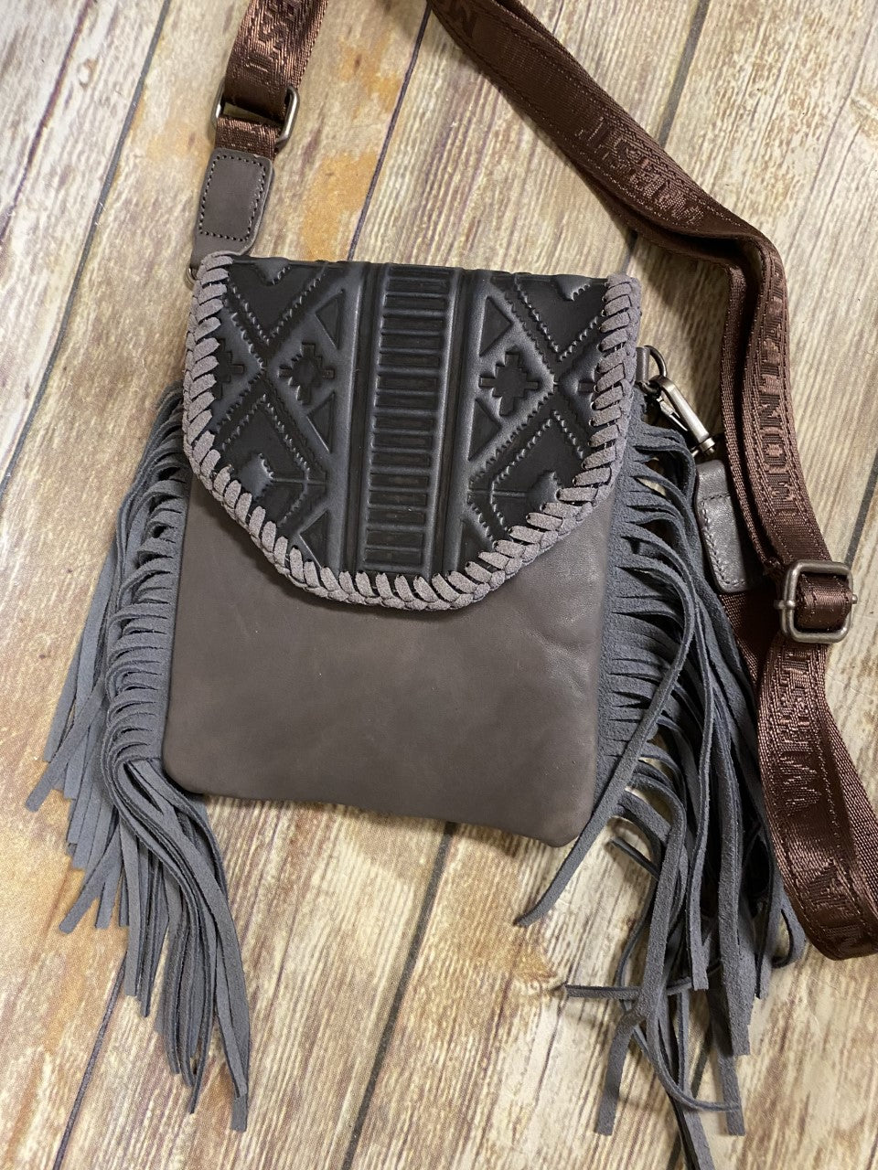 Montana West 100% Genuine Leather Tooled Collection Grey Crossbody
