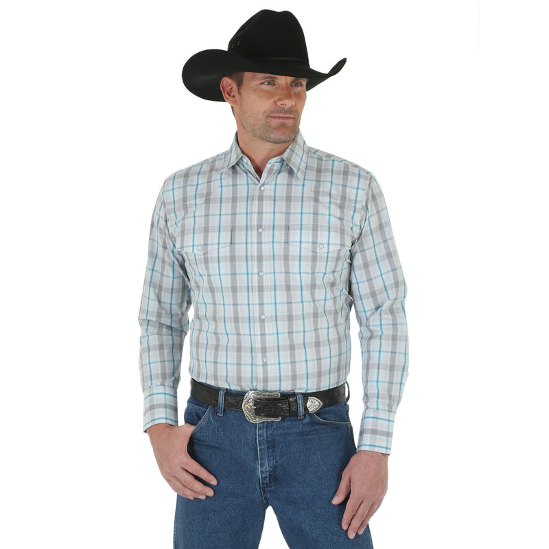 Wrangler Men's White Plaid Button Down Long Sleeve Shirt - Keffeler Kreations | HilltopBoutique.com - 1
