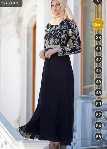Black and gold lace Abaya