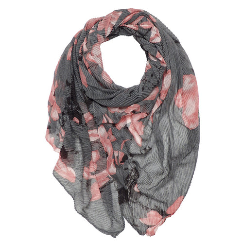 Floral Print Pleated Scarf