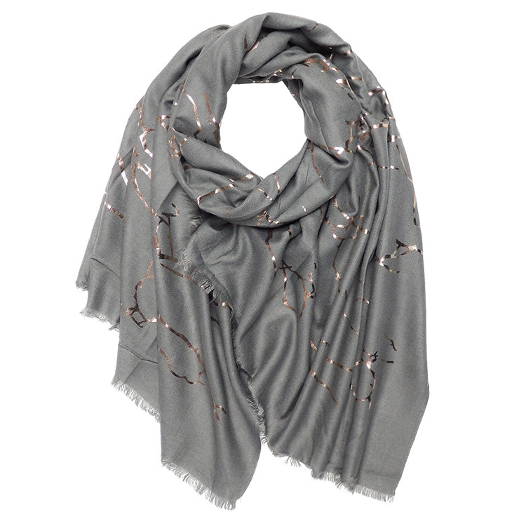 Winter Gold Foil Marble Scarf