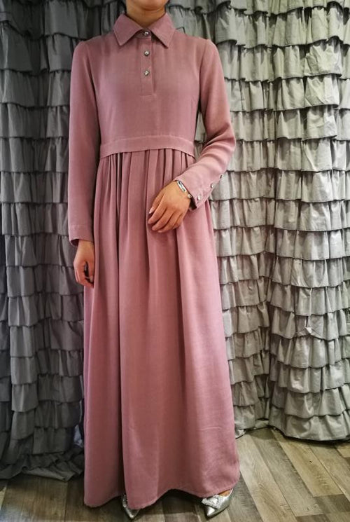 Pink crepe buttoned abaya