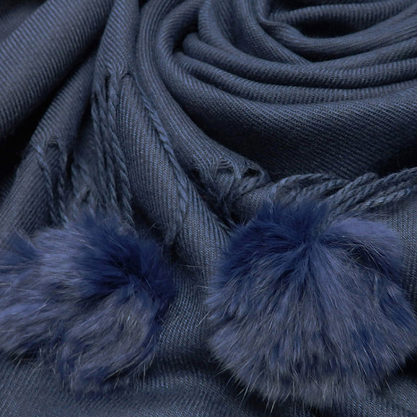 Winter Cashmere Blend Plain Scarf With Rabbit Fur Pompoms