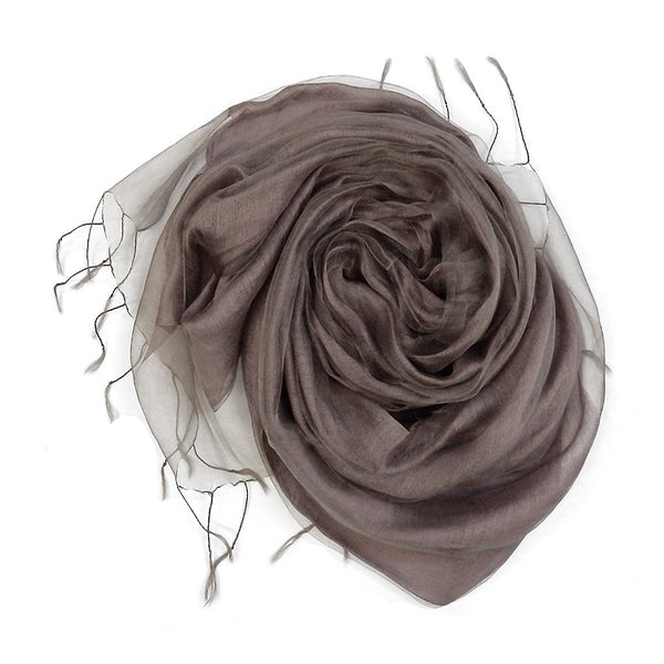 Plain Double Layer Organza Silk Scarf PINK GOLD